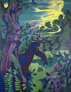 Ernst Ludwig Kirchner, Scene aus dem Sommernachtstraum, 1937, Öl auf Leinwand, 196 x 150 cm, Samuelis Baumgarte Galerie, Bielefeld