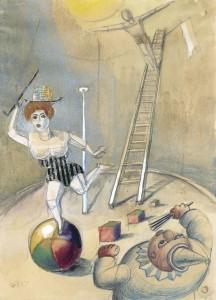 Otto Dix, Zirkusscene, 1923, Aquarell, Collage, Blei- und Farbstifte, 49,5 x 35,5 cm, signiert, datiert, Galerie Remmert und Barth, Düsseldorf, (c) VG Bild-Kunst, Bonn 2015