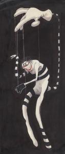 Tim Burton, Ohne Titel (Creature Series), um 1980–1989, Tusche, Marker und Buntstift auf Papier