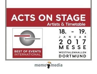 """Künstlerprogramm """"Acts on Stage"""" auf der BOE 2017 in Halle 8"""