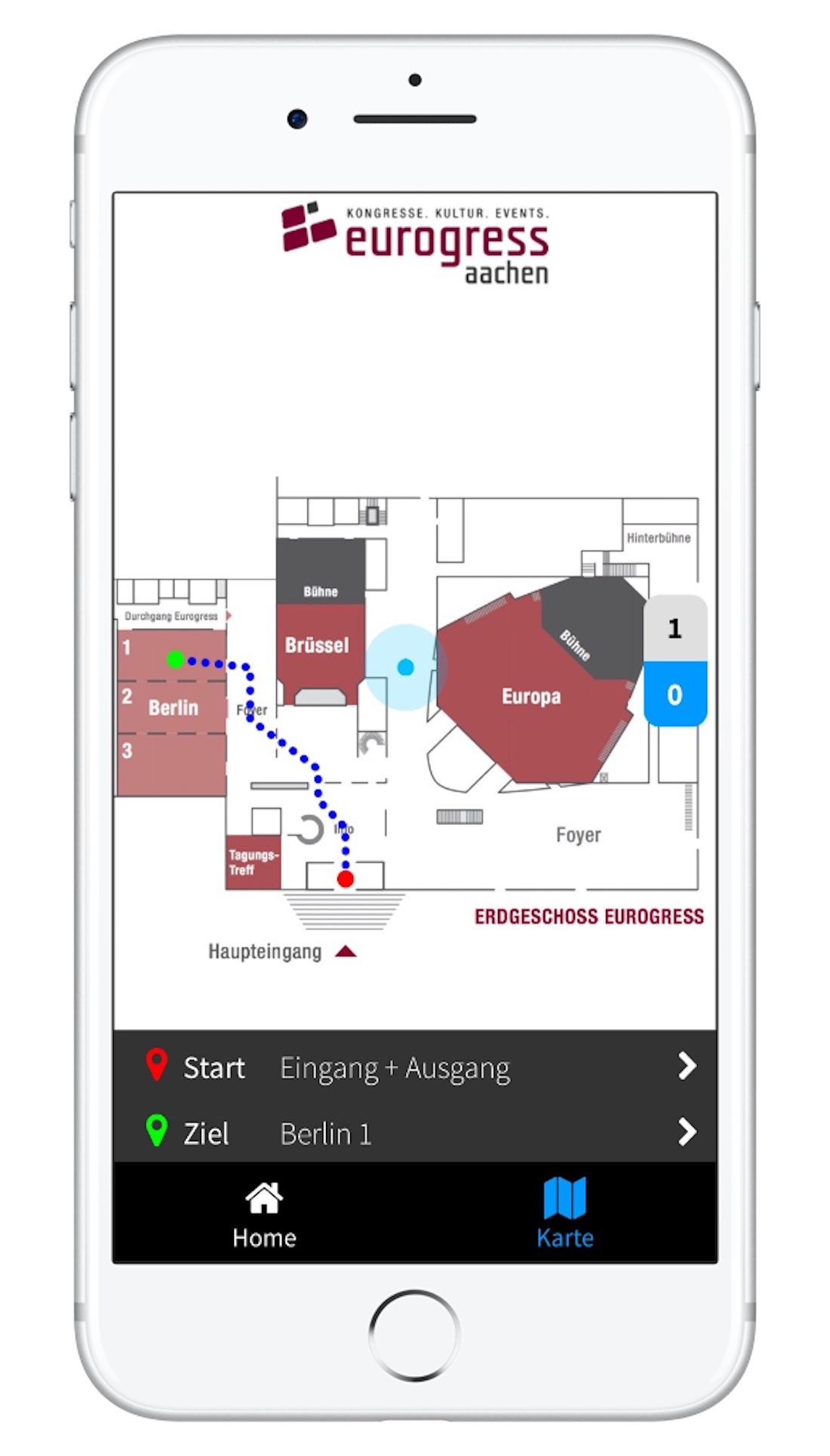Indoor-Navigation für Eventlocations 2D-Karte