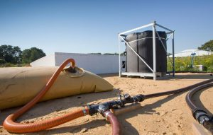 Bei großen Abwassermengen kommen Speichersäcke zum Einsatz.