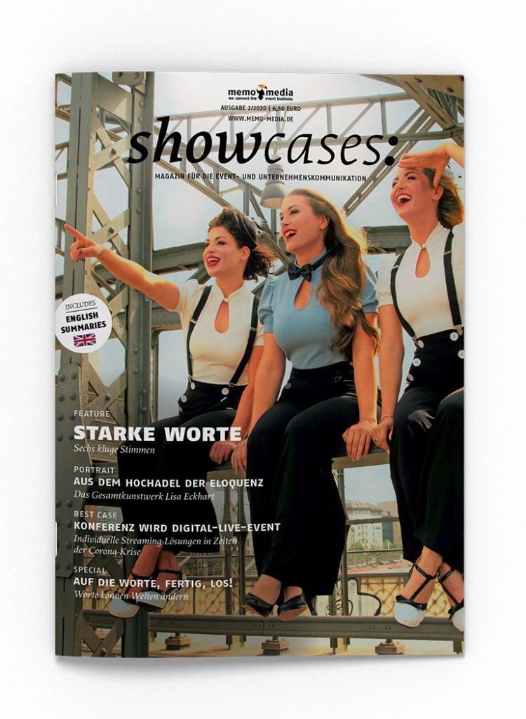 Auf dem Cover der aktuellen showcases-Ausgabe sind die Wortakrobaten der Band Dietrich zu sehen.