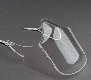 Die transparente Maske besteht hauptsächlich aus Recycling-Material.