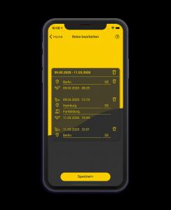 Mit der Trace App lassen sich Daten zur Reisekostenabrechnung und Verpflegungsmehraufwände sammeln.