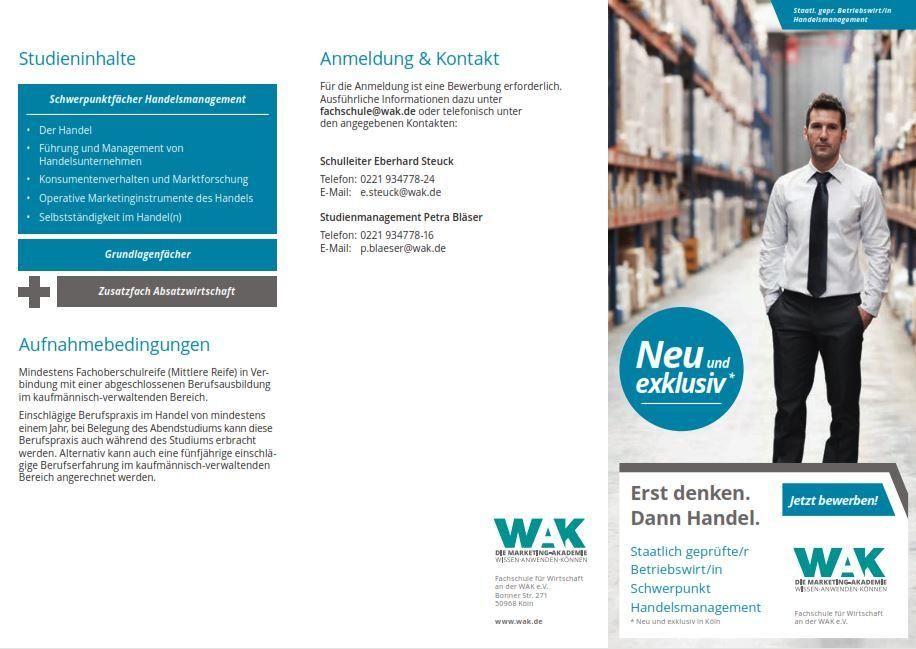 Neuer Studiengang Staatl. geprüfter Betriebswirt mit Schwerpunkt Handelsmanagement an der WAK in Köln startet nach den Sommerferien
