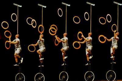 Die HochradComedy - Lachsalven und in Europa einzigartige Artistik Wenn Schorsch Bross am Ende seiner Nummer zur Balance auf dem Hochrad Ringe jongliert und danach jeden einzelnen Ring noch auf den Besen wirft, ist das Publikum nicht mehr auf den Stühlen zuhalten.