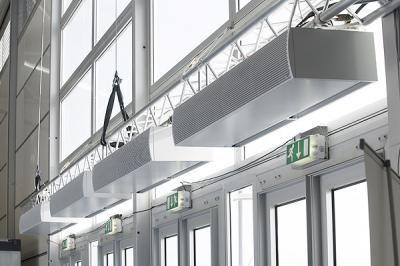 Luftschleieranlagen  Zur optimalen Unterstützung von Klimatisierung und Beheizung in temporären Bauten über Zelteingängen
