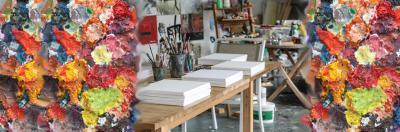 """Kunst Events Wir öffnen Ihnen Ateliers für Ihr Firmen-Event. Ob es das eigene Graffiti bei """"Bomber"""", dem hessischen Urgestein der Graffiti-Kunst ist, außergewöhnliche Stempelkunst mit der Malerin Katja M. Schneider oder verrückte Collagen im Atelier von Identity Art - am Ende hat jeder sein kleines, individuelles Kunstwerk selber erschaffen – zum Verschenken oder behalten. Immer unter professioneller Anleitung und mit viel kreativem Input. Eine Idee für alle, denen Sie etwas Besonderes schenken möchten. Nutzen Sie unsere Kontakte zu wunderbaren Künstlern."""