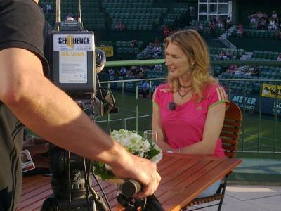 Interview ZDF/ARD Morgenmagazin Aufzeichnung Interview mit Steffi Graf im Gerry Weber Stadion