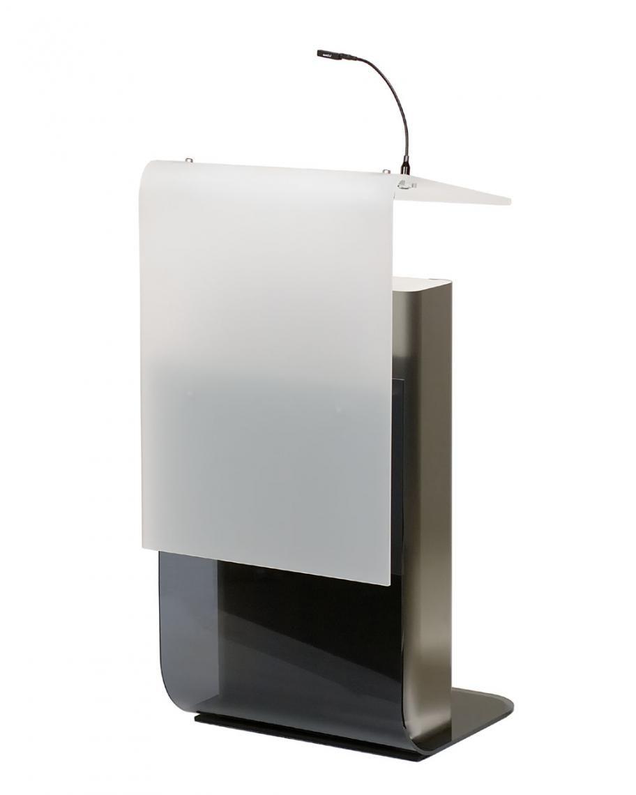 Rednerpult P12 , Design-Rednerpult, Höhenverstellung Rednerpult P12  Design-Rednerpult mit elektrischer Höhenverstellung. Frontblenden:  weiß satinierte bzw. grau transparente Acrylglasoberflächen RGB-LED-Frontplattenhinterleuchtung mit vorprogrammiertem Farbauswahl/Farbwechsel Korpus: Edelstahlkorpus mit Hubmechanik. Höhenverstellung speicherbar Ausstattung: Zwei entkoppelte XLR-Mikrofon-Kupplungen abnehmbare Dokumentenbeleuchtung sowie ein Getränkehalter