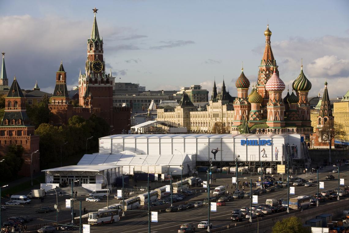Temporäre Showroom Philips Neptunus Gebäude für Philips auf dem Roten Platz in Moskau. Neptunus kann für jedes Event die passende temporäre Lösung bieten, wie beispielsweise den Bau der Evolution und Alure auf dem international bekannten Platz in Moskau, dem Roten Platz. Anlass hierfür war das Simplicity Event, ein jährlich stattfindendes exklusives Event von Philips.