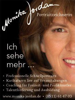 """Monika Jordan Portrait-Schnellzeichnerin Monika Jordan Portrait-Schnellzeichnerin. 2-fach ausgezeichnet mit dem Fachmedienpreis """"Künstler des Jahres"""" 2000 und 2009."""
