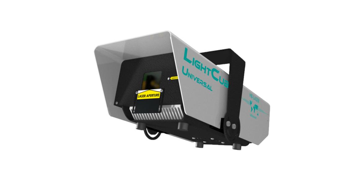 LightCube Universal 841 Universal Lasersystem RGB bis 7W für Anwendungen im Innen und Außenbereich mit integrierter Speicherkarte und Teimersteuerung. Netzwerkfähige Ansteuerung, DMX Ansteuerung, ILDA eingang