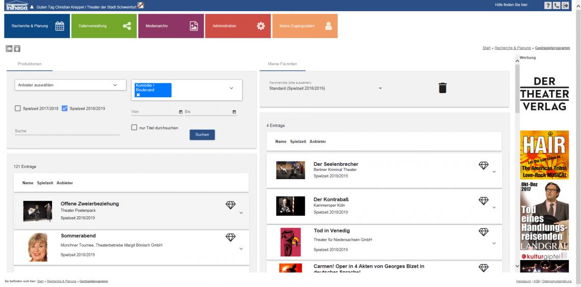 Die INTHEGA-Datenbank Die INTHEGA-Datenbank umfasst alle aktuellen Informationen zu den INTHEGA-Mitgliedern, den Anbietern von Gastspielen und deren Produktionen/Gastspielangeboten in digitaler und aktueller Form.