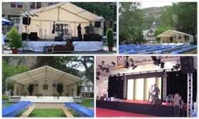 Bühnen Sie benötigen die richtige Bühne für Ihren Auftritt?  Wir bieten Ihnen Bühnen in verschiedenen Größen und Höhen mit oder ohne Überdachung.