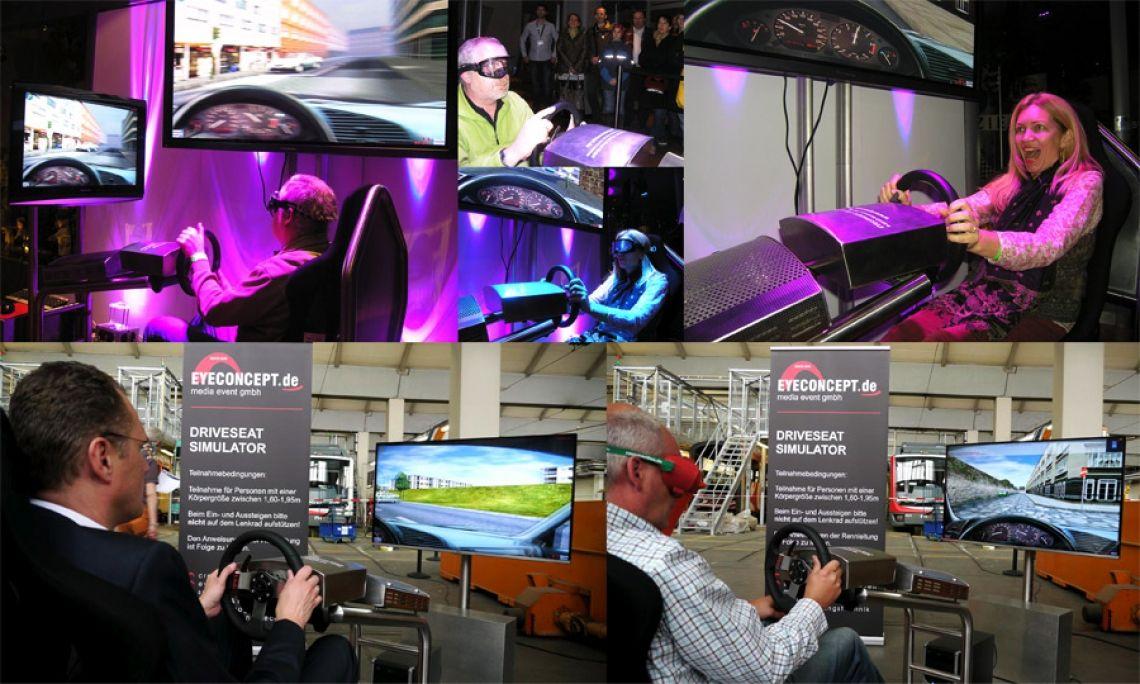 Driveseat Simulator Fahrsicherheitssimulator Verkehrssicherheit und Alkoholprävention PKW-Fahrsicherheitssimulator zum Fahrertraining, Verkehrssicherheit und Alkoholprävention. Testen Sie Ihre Reaktion und Fahrtüchtigkeit. Simuliert werden Fahrschulfahrten und Fahrten unter Alkoholeinwirkung. Natürlich können Ablenkungen im Straßenverkehr durch z.B. Handyanrufe simuliert werden.  Systemausstattung: - Fahrsimulator (Edelstahlausführung) - 3D-Fahrschulsimulationssoftware (PKW) - Recaro Fahrersitz (verstellbar, für Fahrer mit 1,60-1,90m Körpergröße) - Profi-Lenkrad mit Force-Feedback , Alu-Pedalsatz für den Dauerbetrieb, - Hochleistungsrechner mit Zubehör - Soundsystem, regelbar. - LCD/LED-Großbildschirm - Rauschbrille, simuliert eine Fahrt unter Alkoholeinwirkung 0,8‰ - Rauschbrille, simuliert eine Fahrt unter Alkoholeinwirkung 1,5‰  Änderungen vorbehalten!