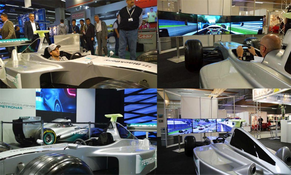 Formel 1 Simulator mieten Fahren Sie Ihre persönlich schnellste Runde auf einer der beliebten  Formel-1 Rennstrecken im F1-Simulator. Der Bolide ist ein Replikat eines  original Formel 1 Boliden, hochwertig in Form und Verarbeitung, im Detail für den technischen Laien vom Original kaum zu unterscheiden. Um das Fahrgefühl möglichst  real zu vermitteln, wurde in den Simulator ein Force-Feedback-System integriert. Dabei wird dem Fahrer über das Lenkrad Bodenkontakt simuliert.  Durch das Befahren z.B. der Grasnarbe entstehen Vibrationen im Lenkrad und der  Bolide wird schwerer lenkbar. Das Soundsystem im Inneren der F1-Karosserie  lässt das ganze Fahrzeug vom Motorgeräusch her ebenfalls vibrieren.  Diese Fahr-Vibrationen (Force-Feedback) werden von sogenannten Body-Shakern  zusätzlich unterstützt. Die Pedalwege sind anpassbar für Fahrer.  TECHNISCHE DATEN: Material Bolide: GFK, 4 – 6-lagig Radaufhängung: Stahlrahmen mit Carbon-Verkleidung Räder: original F1-Felgen und Reifen Reifen: Michelin Felgen: O.Z. Racing Innenverkleidung: Carbon-Verkleidung 2 mm Lenkrad: mit regelbarem Force-Feedback Pedalerie: Sonderkonstruktion, anpassbar an die individuelle Körpergröße des Fahrers (1,60m - 1,95m).  Sound: 2 Bodyshaker am Sitz und 1 Lautsprecher in der Hutze Abmessungen, L: 4,56 m (Nase, zum Transport abnehmbar) / B: 1,80 m / H: 1,05 m  Transportbreite: mind. 1,85m Gewicht: ca. 230 kg  RENNSTRECKEN Die F1-Rennsoftware (Eyeconcept Edition) läßt interessierte Rennsportfans das Gefühl  eines echten F1-Piloten aus der Fahrerperspektive erleben und sorgt für ein spannendes Fahrvergnügen. Sie steuern vorbei an den Zuschauertribünen, der Boxengasse, überrunden die Konkurrenz. Der Fahrer und das Publikum verfolgen das Rennen in brillianter Auflösung auf einem der neuesten LED- oder Plasmagroßbildschirme. Die Anzahl der zu fahrenden Runden sowie die Rennstrecken sind wählbar.  REFERENZEN (Auszug) Petronas, Messe Automechanika, BlackBerry, Daimler AG,  Mercedeswelt am Salzufer - Berlin, 