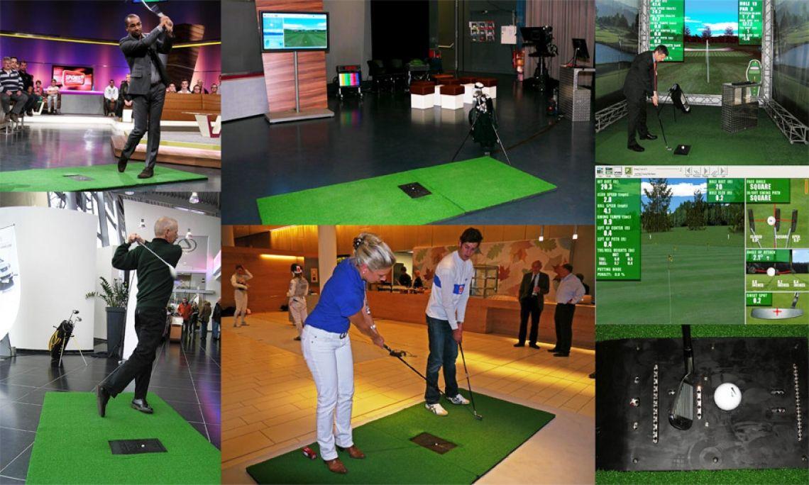 """Virtual Golfsimulator mieten Video-Golfsimulation mit Sensorabschlagmatte, Eventsimulatorensoftware,  Golf-Drivingrangeprogramm, Soundpackage, PC-Technik und Golfschlägerset.  Spielen Sie z.B.  """"Longest Drive"""" auf dem virtuellen Golfplatz oder auf der virtuellen Drivingrange. Sie können vor dem Abschlag in der Software genau den Schläger einstellen, mit dem Sie auch tatsächlich abschlagen. Bei jedem Abschlag folgt die Kamera dem Ball und stellt Ihren Abschlag im Videobild dar. Die Auswertung, z.B. Schlägerkopfgeschwindigkeit, Winkel, Distanz, etc. können im Videobild ebenfalls angezeigt werden. Spiele im direkten Vergleich meherer Teilnehmer sind möglich.  Die Golfbälle bleiben auf dem virtuellen Green solange liegen bis Sie gelöscht werden.  Diese Anlage ist für den Indoorbetrieb geeignet; für Anfänger, Profis, Turniere,  Rechts- und Linkshänder. Gespielt wird mit dem """"virtuellen Golfball"""", am realen Abschlagspunkt. Somit ist die Gefahr eines verirrten Golfballes (z.B. Einschlag im Nachbarstand, Cocktailbar, Publikum, etc.) nach dem erfolgten Abschlag ausgeschlossen!  Ideal für Motivationsevents, Messen, Tagungen, Abteilungen und zur Kundenbindung.  Lieferumfang: - Golf Drivingrange-Software - PC-Technik mit VGA-Ausgang - Soundausgabe - höchauflösender LED/LCD-Grossbildschirm  - Edelstahlständer, höhenverstellbar für Großbildschirm - Sensorabschlagmatte für Rechts- und Linkshänder - hochwertiges Golfschlägerset,  - Abschlagsmatte für Rechtshänder - Anschlussabschlagsmatte für Linkshänder  Bei Bedarf kann ein vorhandener VGA-Splitter des Studios angeschlossen werden. Änderungen vorbehalten!"""