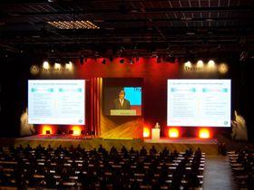 Thyssen Krupp Hauptversammlung 2011 Wie in den letzten Jahren, war Aventem auch 2011 der technische Partner bei der Hauptversammlung der Thyssen Krupp AG in Bochum. Rigging, Licht-, Ton- und Videotechnik werden von uns konzipiert, geliefert und betreut.