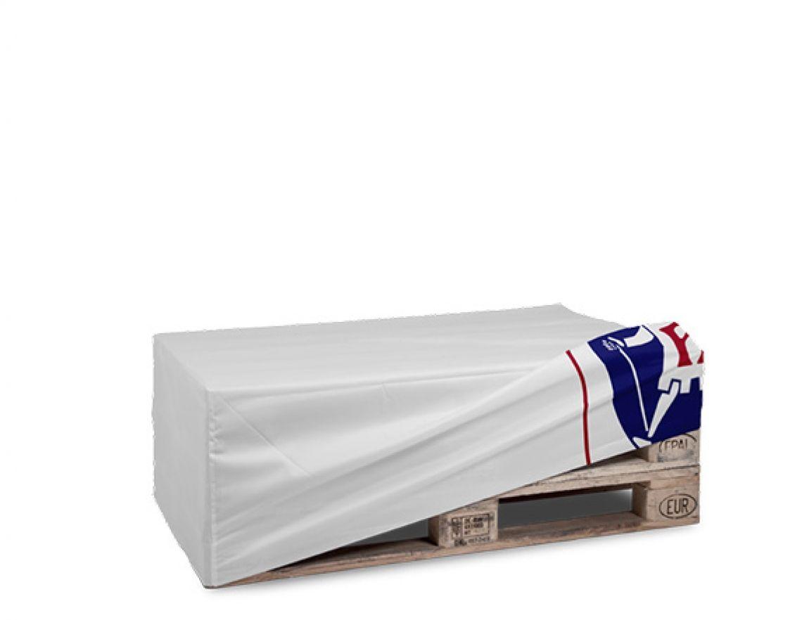 Palettenhussen Nicht nur Transportmittel! Schmücken Sie Ihre Standard Europaletten doch einfach mit einer textilen Husse und übermitteln Ihre Marke und Botschaft so direkt am POS. Einfach, schell und kostengünstig.