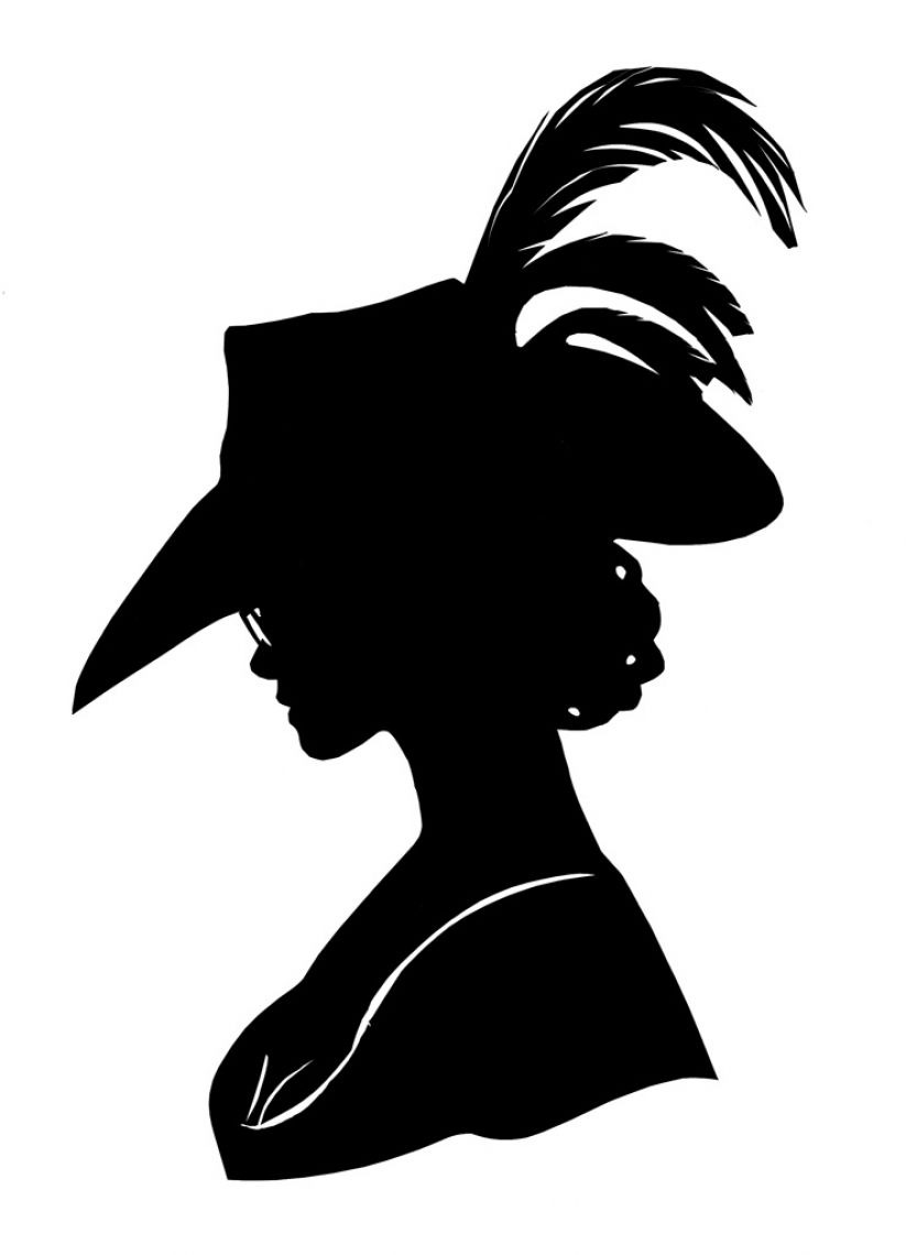 Scherenschnitt Dame mit Hut Porträt-Scherenschnitt