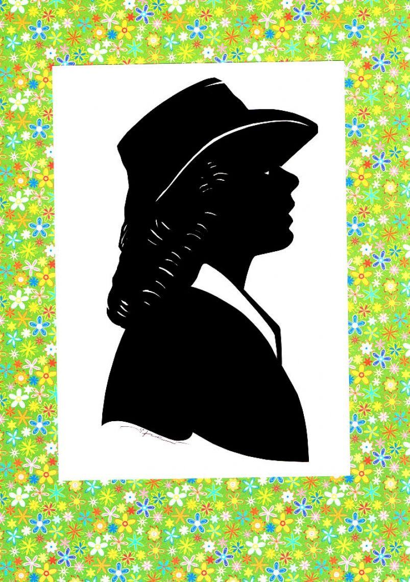 Scherenschnitt eine Personen Freundliche Dame mit Hut