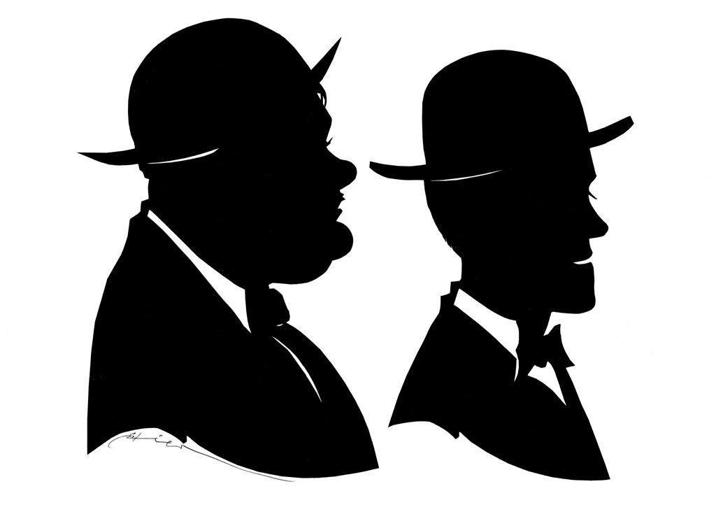 Scherenschnitt zwei Personen Laurel & Hardy Komiker - Gruppe von 1925