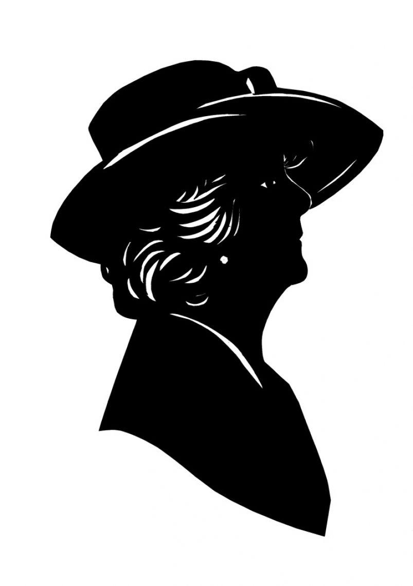 Scherenschnitt eine Personen Dame mit Hut.