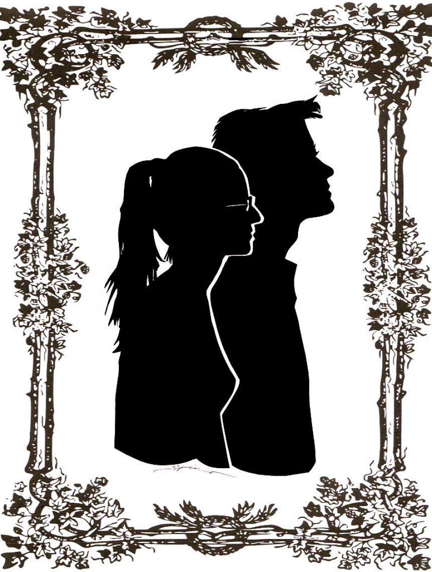 Porträtscherenschnitte von zwei Personen Eheleute im Doppelscherenschnitt.