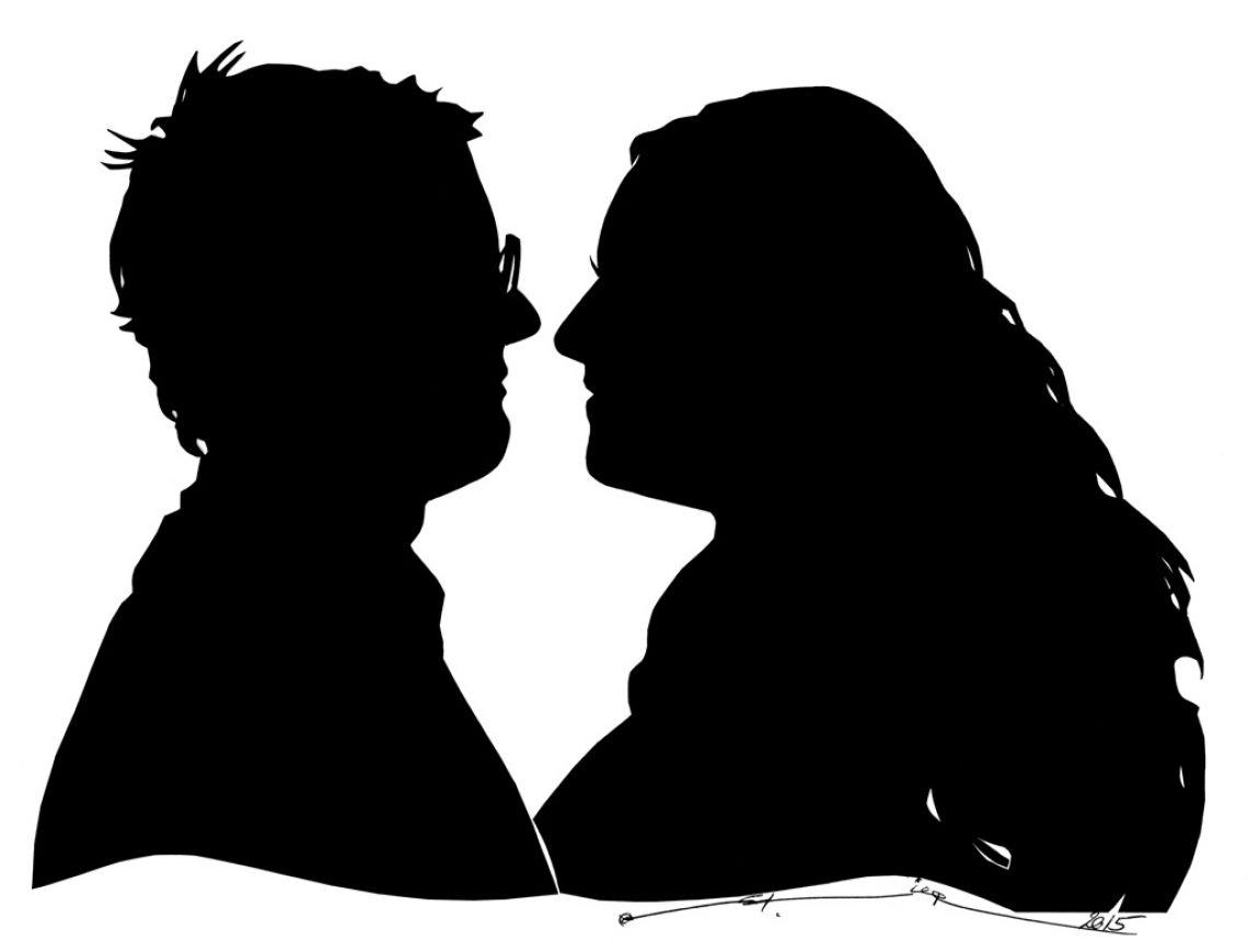 Portraitscherenschnitte von zwei Personen Eheleute im Doppelscherenschnitt.