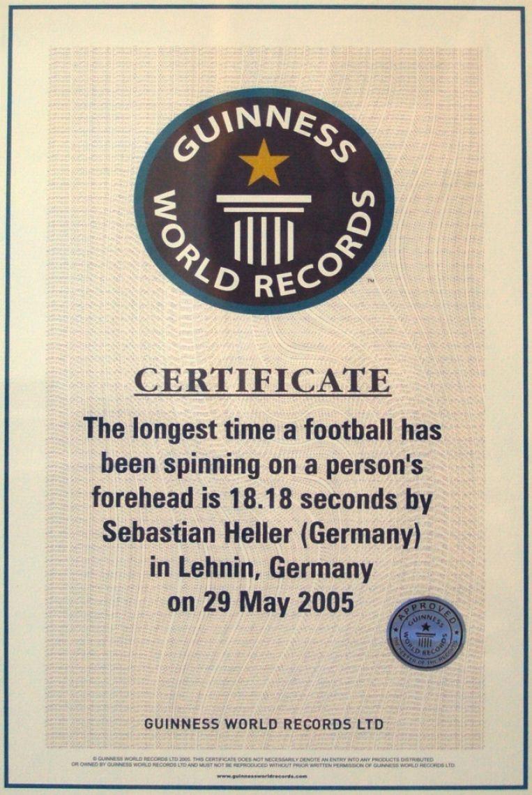 Guinness Weltrekord Urkunde - Balldrehen mit Köpfchen