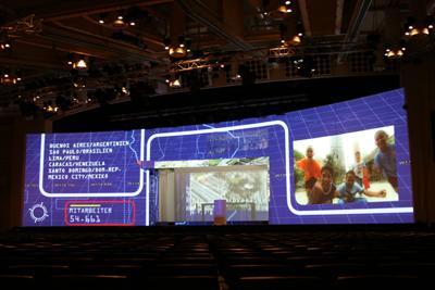 Konferenz Softegde Projektion Barco Watchout Ventuz mieten