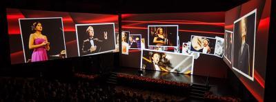 """270° Tandemprojektion 270° Projektion mit Watchout bei der Veranstaltung \""""25 Jahre Neue Stimmen\"""" der Bertelsmann Stiftung."""