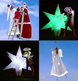 Weihnachtsproduktionen - Originelle, poetische Interaktionen <br> - Tanzende Leuchtsterne mit wechselnden Farben <br> - Weihnachtsmann mit goldener Himmelsleiter <br> - Schlitzohrige Weihnachtsengel