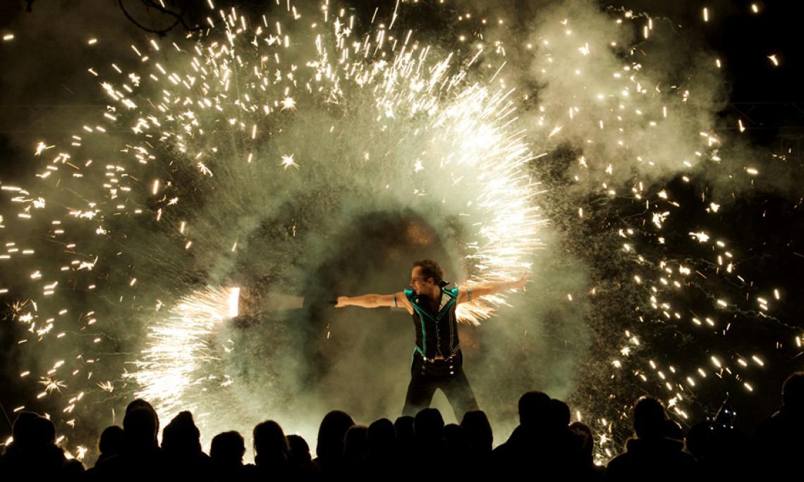 Pyrotechnik artistisch inszeniert - Einbindung von pyrotechnischen Effekten mit speziellen Requisiten in das Finale der Feuershow.