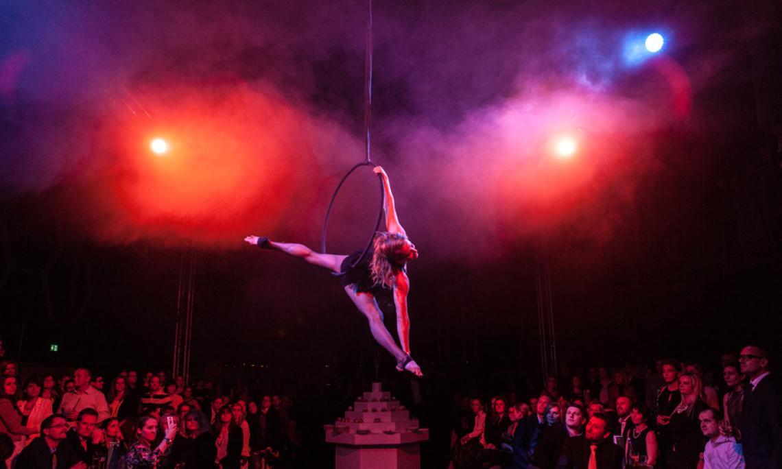 Luftartistik im Aerial Hoop - Als Show-Act im Varieté auch in Kombination mit unseren Feuer-, Licht- und Lasershows.