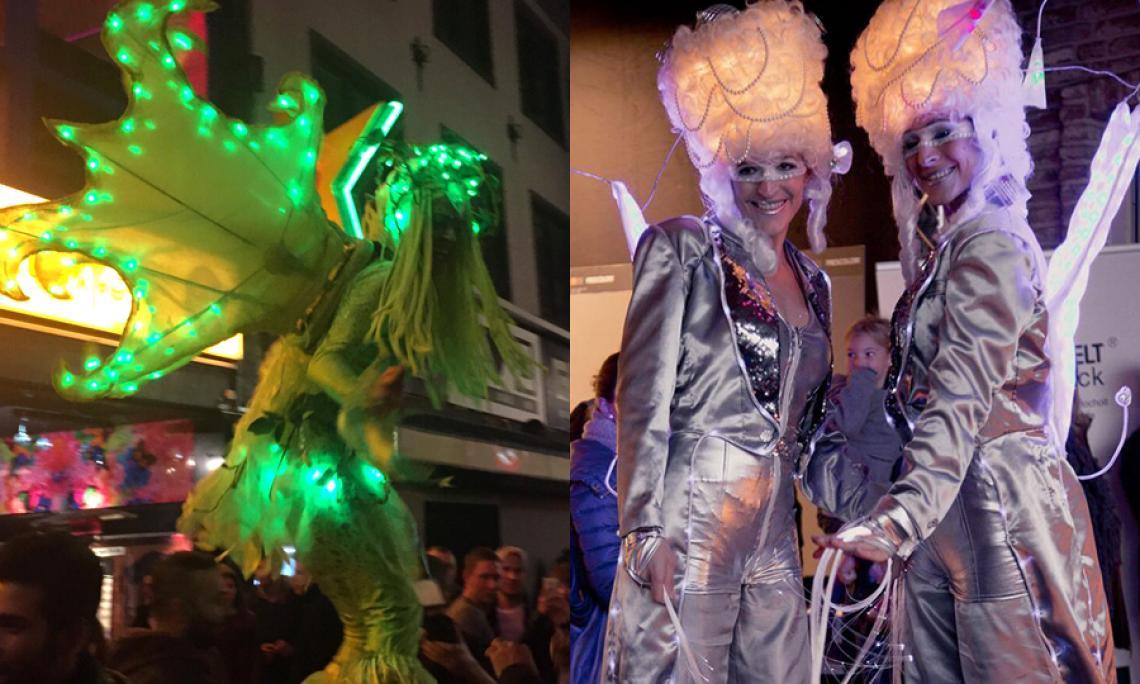 Walk Act mit Lichtkostüm - Stelzenläufer und Walking Act mit phantasievollen Lichtkostümen z.B. zum Empfang der Gäste.