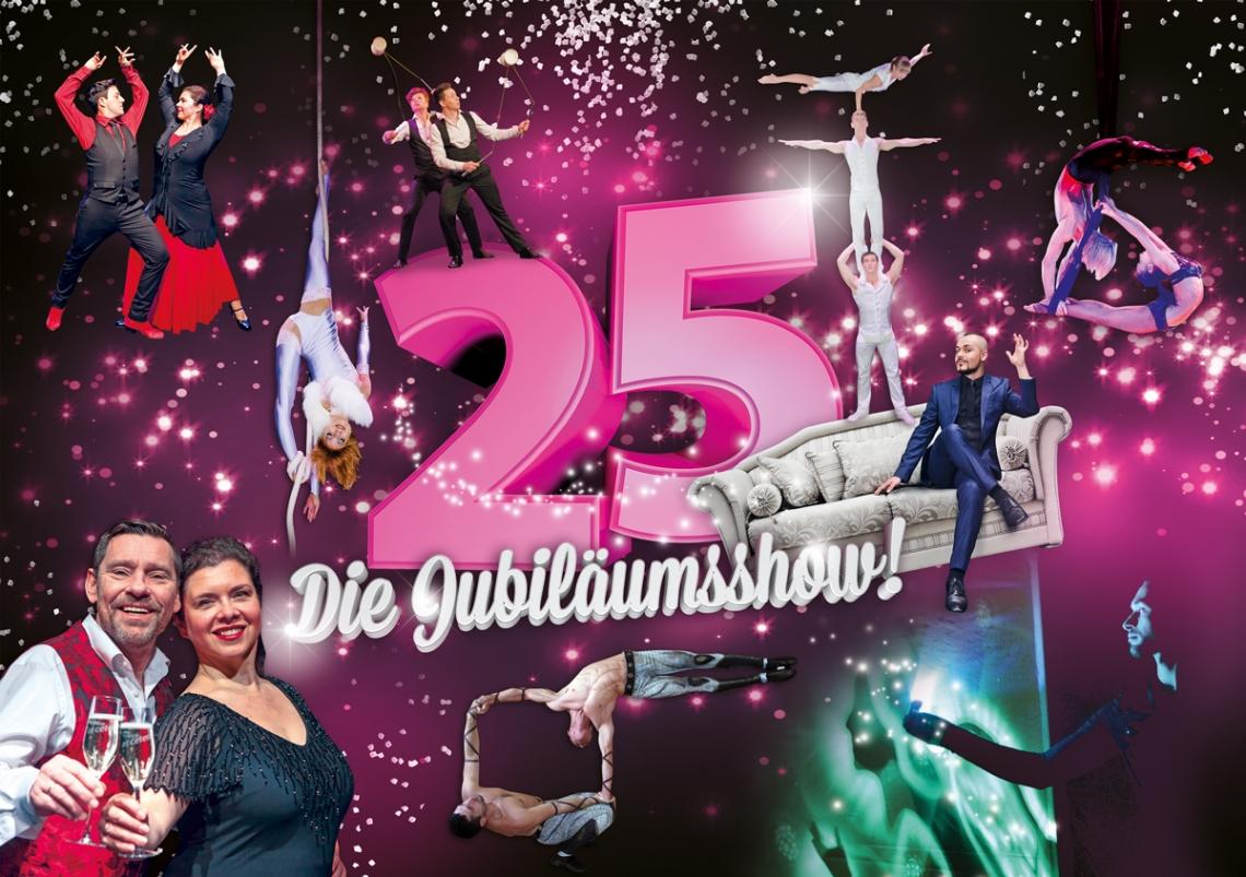 """DIE JUBILÄUMSSHOW! (Show vom 08.09. bis 05.11.2017) """"25 Jahre Varieté et cetera"""" – wir feiern ein viertel Jahrhundert voller Spaß, einmaliger Showprogramme, gutem Essen und Liebe zur Kunst. Zusammen mit international bekannten Artisten stehen zu diesem Anlass auch die Gründer der Varieté – Familie auf der Bühne!"""