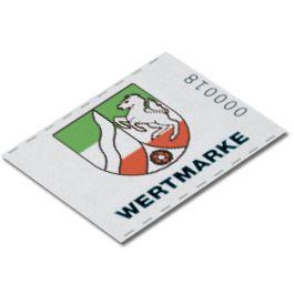 Wertmarke mit farbigem Druck Auch ein farbiger Druck, zum Beispiel eines Vereinslogos ist auf Wertmarken von printaholics problemlos möglich.