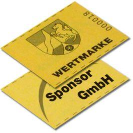 Wertmarke mit Sponsorlogo auf der Rückseite Mit unseren Wertmarken kann der Verkauf von Speisen und Getränken deutlich beschleunigt werden, da nur am Bonverkauf Wechselgeld benötigt wird.