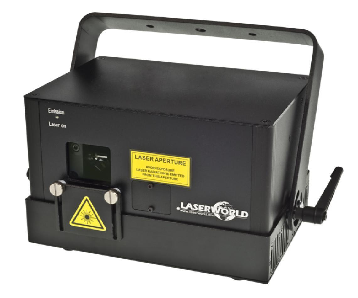 """Laserworld Diode Series - reiner Dioden-Showlaser Die Laserworld Diode Serie wurde als reine Diodenlösung (""""Pure Diode"""") konzipiert, woraus sich hervorragende Strahleigenschaften und eine sehr schöne analoge Farbmodultation ergeben. Die Lasersysteme der Diode Serie können über ILDA angesteuert werden und besitzen darüber hinaus einen serienmäßig integrierten Speicher mit voreingestellten Mustern, die über DMX einfach abgerufen werden können. Der Betrieb im Automatik- und Musikmodus ist ebenfalls möglich. Alle Systeme der Diode Serie verfügen zudem über einen Master-Slave-Modus. Es sind rote und grüne Einfarbmodelle, sowie RGB-Projektoren mit einer Gesamtleistung von bis zu 3'300 mW erhältlich."""