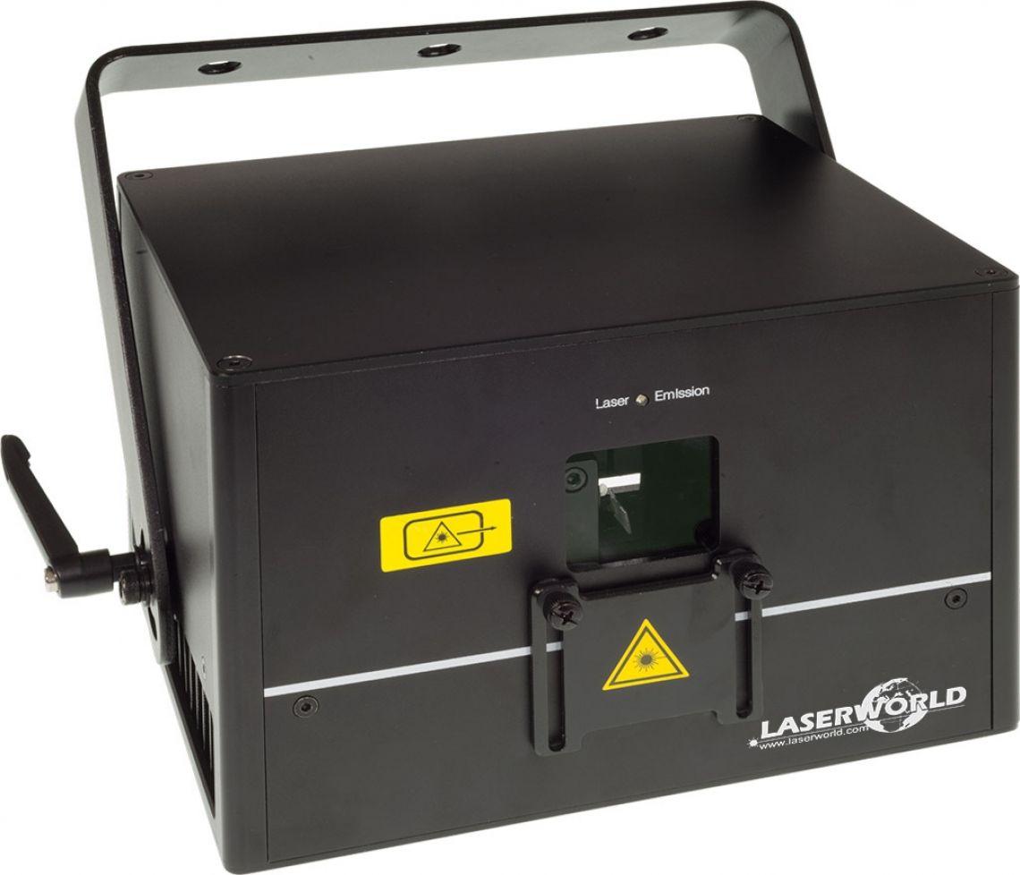 """Laserworld Diode Series - reiner Dioden-Showlaser Die Laserworld Diode Serie wurde als reine Diodenlösung (""""Pure Diode"""") konzipiert, woraus sich hervorragende Strahleigenschaften und eine sehr schöne analoge Farbmodultation ergeben. Die Lasersysteme der Diode Serie können über ILDA angesteuert werden und besitzen darüber hinaus einen serienmäßig integrierten Speicher mit voreingestellten Mustern, die über DMX einfach abgerufen werden können. Der Betrieb im Automatik- und Musikmodus ist ebenfalls möglich. Alle Systeme der Diode Serie verfügen zudem über einen Master-Slave-Modus. Es sind blaue und grüne Einfarbmodelle, sowie RGB-Projektoren mit einer Gesamtleistung von bis zu 5'000 mW erhältlich."""
