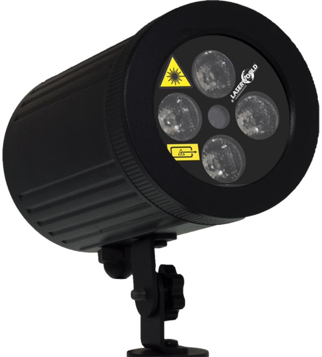 Garden Star LED - Effektlaser plus LED-Strahler Rot-Grüner Effektlaser mit sich bewegenden Lichtpunkten kombiniert mit einem mehrfabrigen LED-Strahl für Innen- und Außenanwendungen und zur effektvollen Beleuchtung in Gärten, an Teichen und Pools, auf Balkonen usw. Die Farben der LED, wie auch die Farben des Lasers können über die Funkfernbedienung gesteuert werden. Der GARDEN STAR LED hat ein robustes und IP65 wasserdichtes Aluminiumgehäuse, wodurch er sich auch besonders gut zur effektvollen Beleuchtung in Gärten, an Teichen und Pools, auf Balkonen und im gesamten Außenbereich eignet. Der GARDEN STAR LED – Laserworld GS-80RG LED hat eine Ausgangsleistung von bis zu 80mW (Laser) und 4 x 3 W (LED).