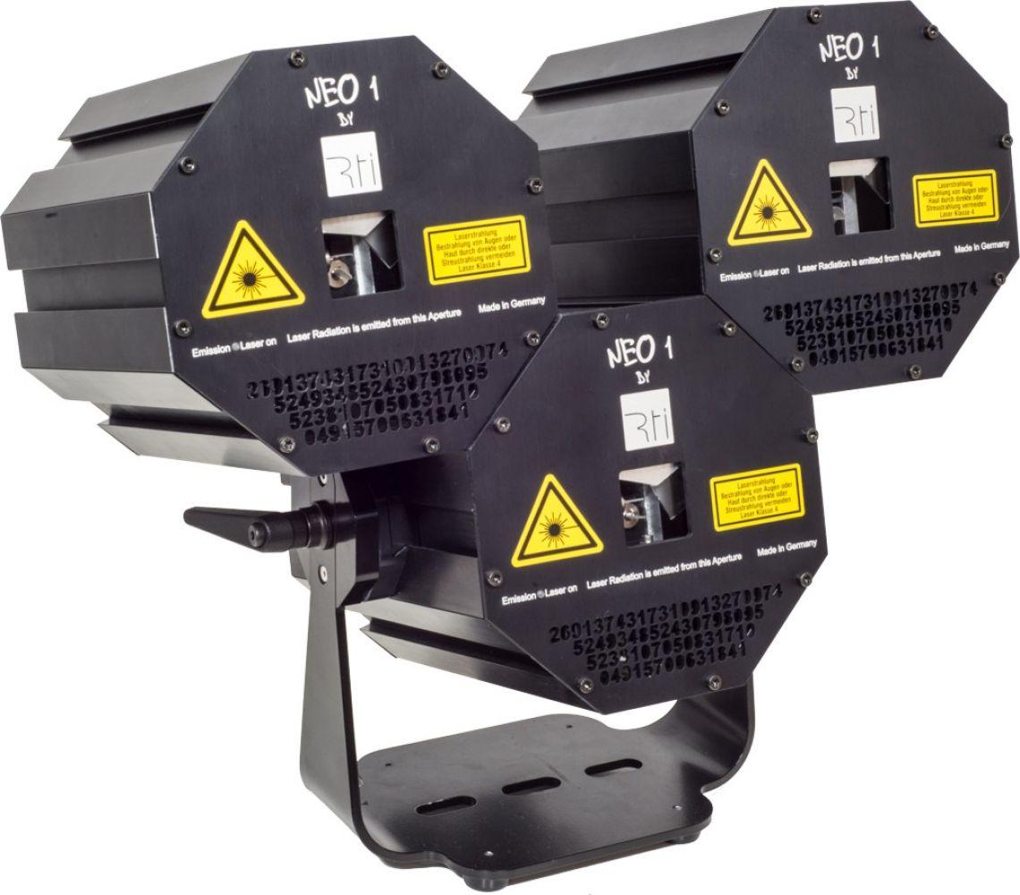 RTI NEO ONE Showlaser Der RTI NEO ONE ist ein Weißlicht-RGB-Showlaser, der durch eine innovative Steckverbindung ganz einfach mit beliebig vielen anderen RTI NEO ONE Systemen verbunden werden kann. Alle RTI NEO ONE Geräte sind per DMX ansteuerbar und können somit unkompliziert in bestehende Licht-Setups integriert werden. Es wird nur ein Netzteil für bis zu sechs Geräte benötigt, was zusammen mit der Steckverbindung für eine große Platzersparnis sorgt.