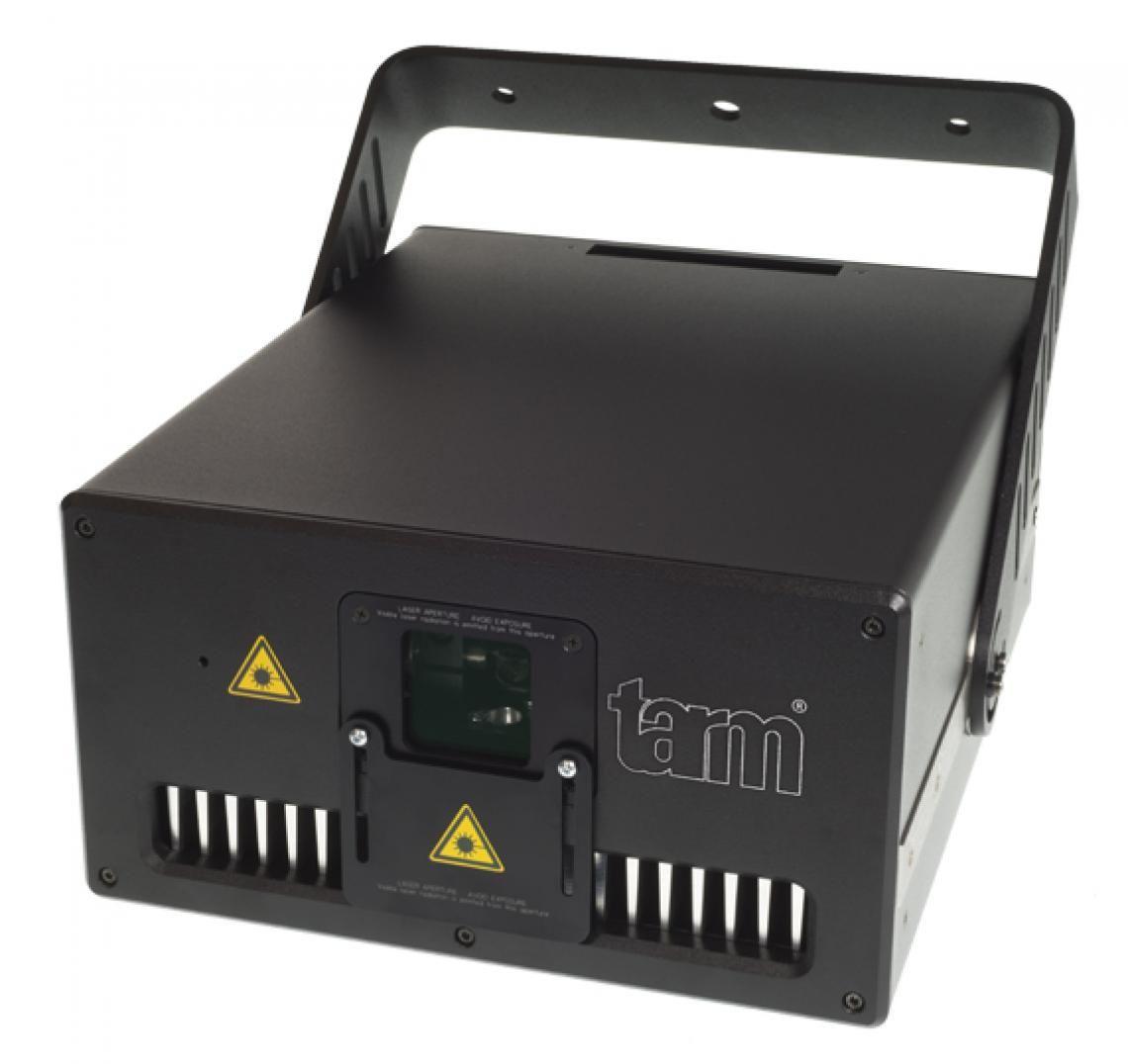 tarm seven - Diodenlaser mit Browser-Interface zur einfachen Ansteuerung Der neue tarm seven ist ein kompakter Diodenlaser mit analoger Modulation, der über ILDA angesteuert werden kann. Zudem verfügt er über ein Browser-Interface, das es ermöglicht, den Showlaser mittels LAN / W-LAN zu konfigurieren. Dies ist mit jedem Gerät, das über einen Webbrowser verfügt, möglich. Einfach das Smarthpne zur Hand nehmen und Farbbalance, Scanning-Parameter, Sicherheitseinstellungen, etc. konfigurieren. 6'700 mW garantierte Leistung nach Optik gepaart mit einer Divergenz von nur 0.8 mrad sorgen für optimale Lasergrafiken und -Strahlen.