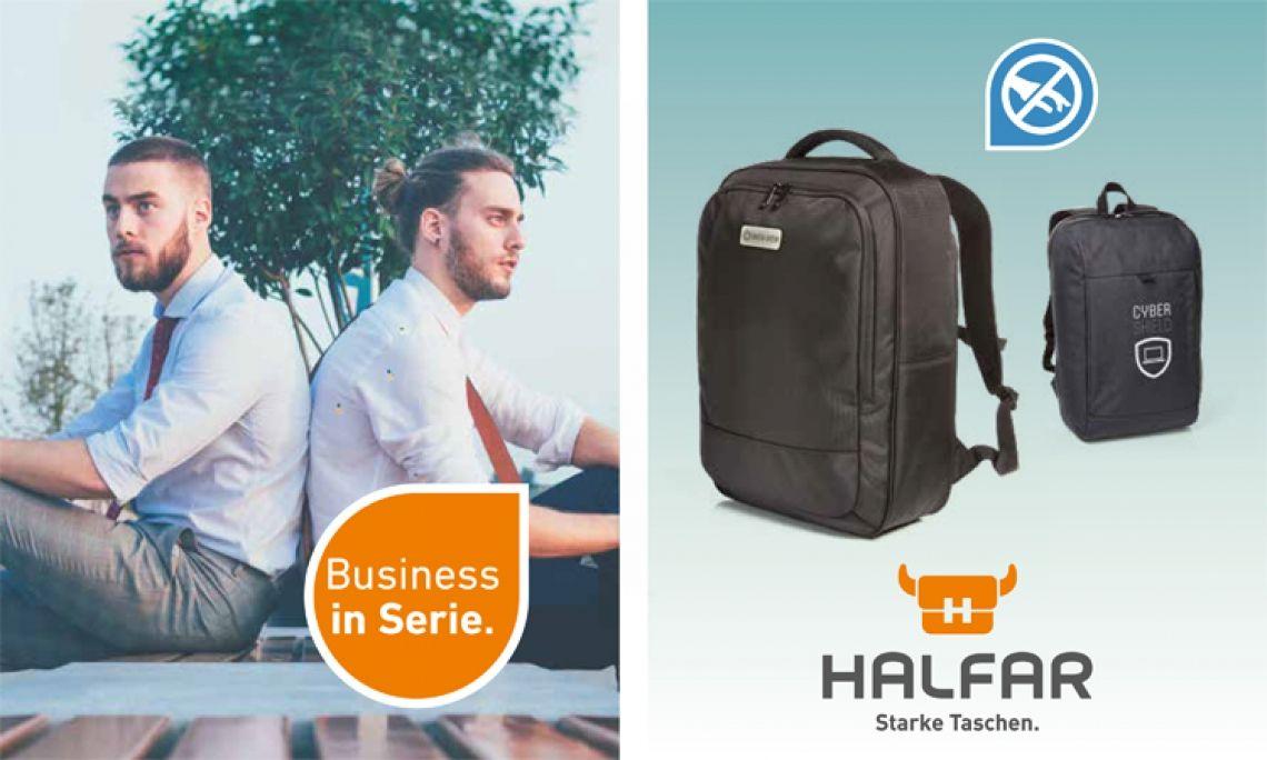 Business in Serie Mit den neuen Notebook-Rucksäcken von HALFAR® haben es Taschendiebe nicht leicht. Wichtiger Inhalt kann in den beiden Rucksäcken zugriffsicher verstaut werden. Der GIANT hat zudem ein RFID-Fach zum Schutz sensibler Daten. Der Notebook-Rucksack SKILL ist der perfekte Begleiter für den nächsten Ausflug, denn er lässt sich wie ein Koffer öffnen und bietet viele Fächer.