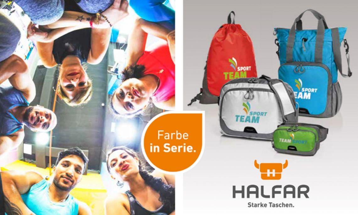 Farbe in Serie Die STEP-Serie von HALFAR® ist bunt, leicht und sportlich. Und sie bietet für Jeden das richtige Modell. Für kleinere Wertsachen eignen sich die Gürteltasche und der Zugbeutel. Die Multibag und die Umhängetasche bieten Platz für Einkäufe, Sportsachen uvm. Die Serie eignet sich auch sehr gut als Mitarbeiterprämien.