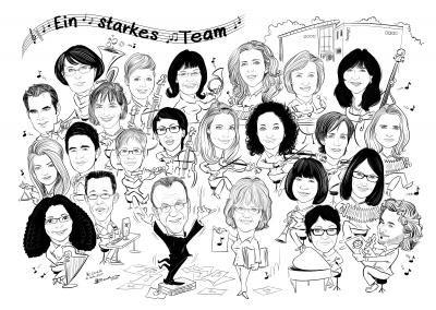 Gruppenkarikatur Digitale Corporate-Karikatur zum ausdrucken und E-Mail-Versand an die Mitarbeiter und Kunden.