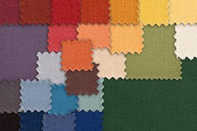 Royal FR Royal FR ist ein extrem schweres Polyestergewebe, 350 g/m², 140 cm breit in zahlreichen Farbschattierungen. Der Abdunklungsgrad liegt je nach Farbe bei 80 % bis 95 %.
